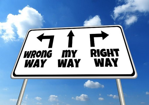 Image showing 3 ways to go, the wrong way, my way or the right way.