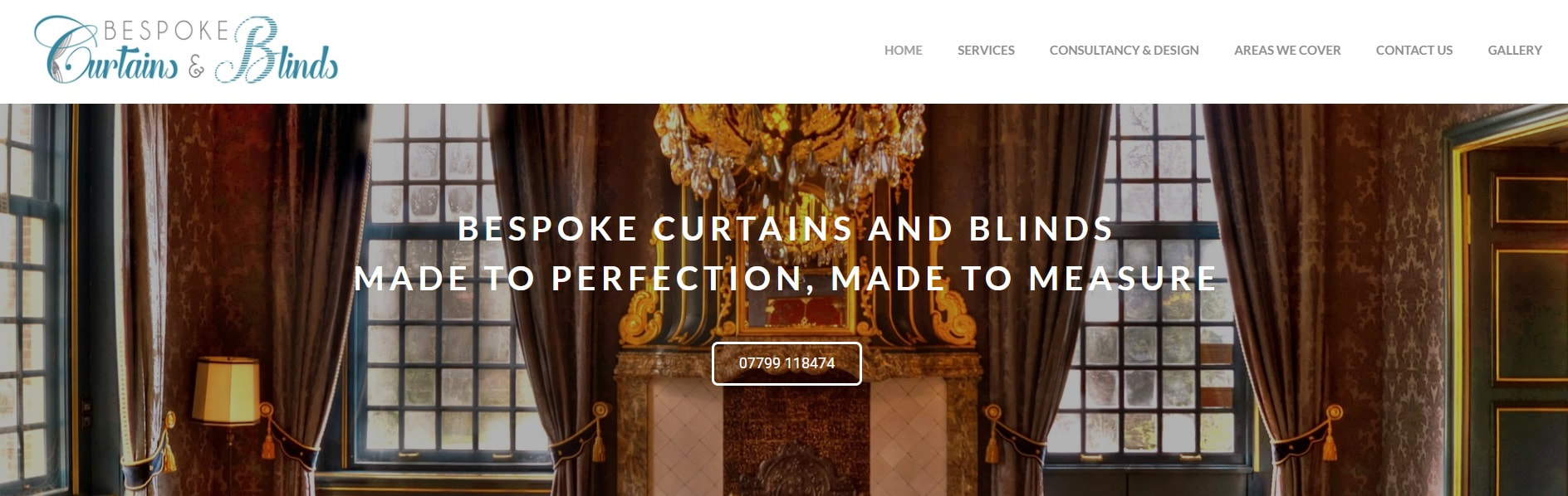 Screen shot of website called Bespoke Curtains and Blinds. Picture of a grand window that is dressed with beautifully draping curtains.