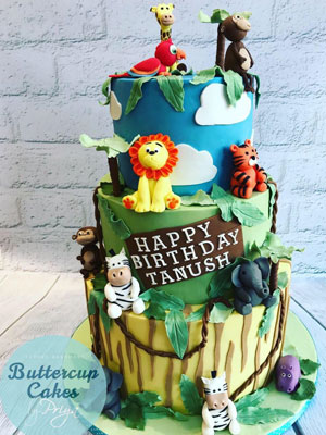 Buttercup Cakes by Priya Jungle Animals Birthday Cake