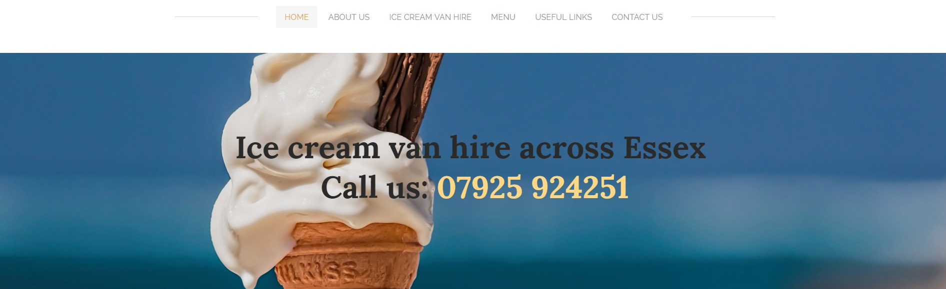 Home page for Carly's Ice Cream Vans