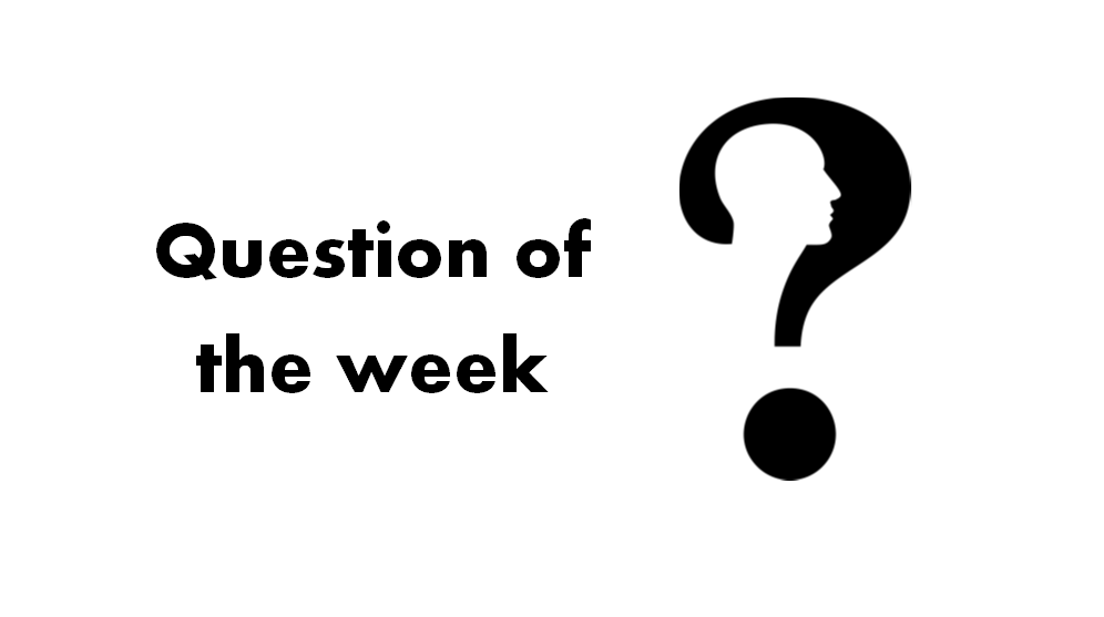 Question mark in black with the outline of a male face/profile embedded in and to the left the words question of the week