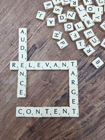 scrabble board that spells various content marketing words