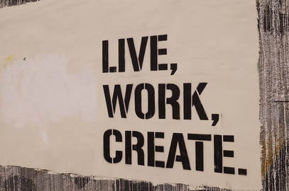 Image with the words Live, Work, Create in black text