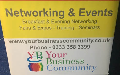 banner detailing information about the host of a your business community networking event