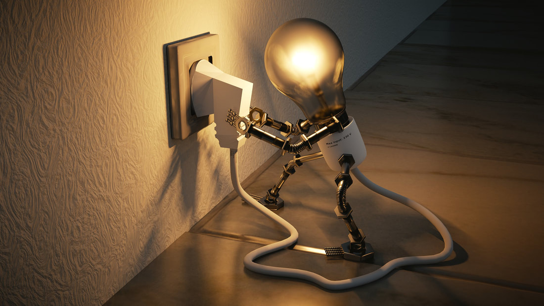 Image of a little light bulb that has legs and arms, plugging itself into a wall and the light coming on.