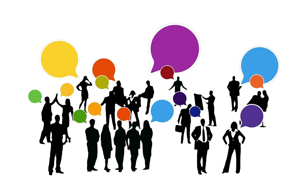 Cartoon style image of people networking