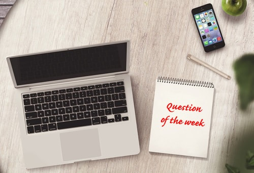 Question of the week image - laptop, notepad and mobile