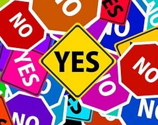 Yes and no signs in bright colors