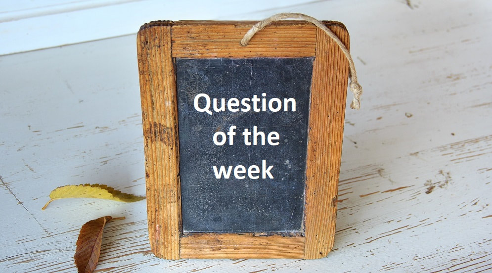 small blackboard with the words, question of the week, written on it