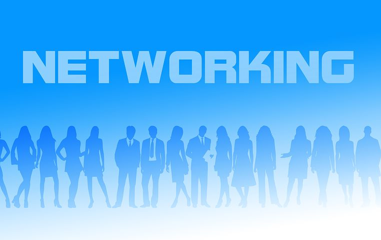 Peoples silhouettes, coloured blue, dressed in office clothes stand posing in different ways in a line. Above their heads is the word networking.